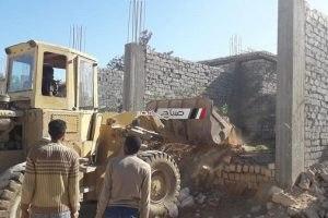 بالصور حملات ازالة تعديات على أملاك الدولة وبناء بدون ترخيص ببرج العرب