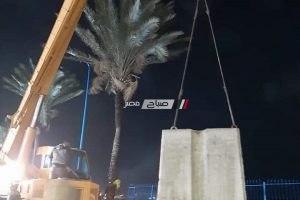 وضع 500 طن من الكتل الخرسانية بسور الكورنيش بالإسكندرية لمعالجة الهبوط الأرضي
