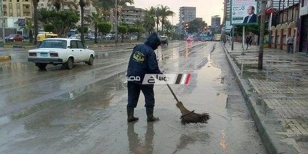 استمرار هطول الأمطار الغزيرة غرب الإسكندرية مساء اليوم