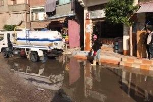 رفع مياه الامطار من شوارع دمياط و استكمال خطة الرصف بالشوارع