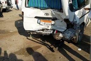 بالصور.. مصرع 6 مواطنين وإصابة 34 آخرين فى حادث تصادم سيارة نقل بـ3 سيارات ميكروباص بالبحيرة