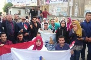 رئيس جامعة دمياط يقود مسيرة طلابية لحث المواطنين على المشاركة في الاستفتاء علي التعديلات الدستورية … صور