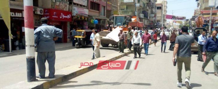 تحرير 20 محضر اشغال في حملة مكبرة لإزالة التعديات بدمياط