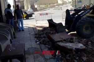 بالصور.. انهيار جزئي في عقار بمنطقة المنتزه بالإسكندرية