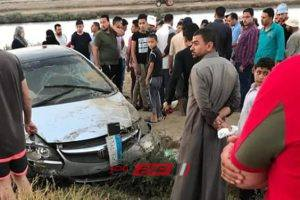 اصابة شخصين في حادث انقلاب سيارة ملاكي على طريق دمياط – بورسعيد … صورة
