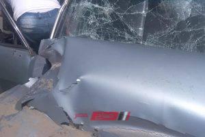اصابة شخص جراء حادث تصادم سيارة ملاكي على طريق دمياط – بورسعيد … صورة