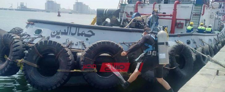 هيئة ميناء دمياط تجري مناورة حصر عطب بإحدى الوحدات البحرية… صور
