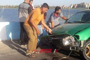 اصابة شخصان في حادث انقلاب سيارة ملاكي على طريق رأس البر