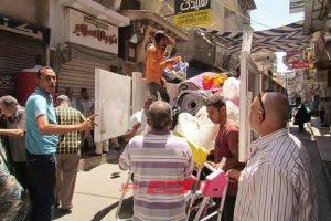 شن حملة مكبرة لازالة اشغالات شوارع مدينة دمياط وسوق السمك