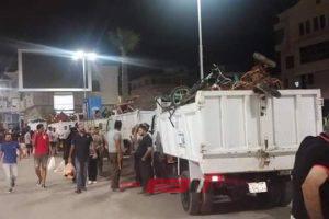 شن حملة مكبرة لإزالة اشغالات شوارع مدينة رأس البر بدمياط
