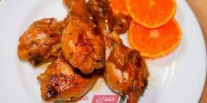 طريقة عمل دجاج مشوي بصوص البرتقال