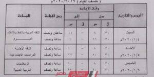 جدول امتحانات الترم الأول جميع المراحل محافظة القليوبية 2019-2020