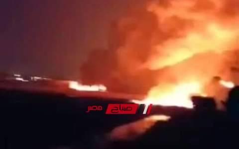بالفيديو .. اشتعال النيران بعزبة المواسير نتيجة انفجار خط بترول بإيتاي البارود بالبحيرة