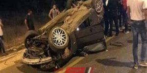 حادث انقلاب سيارة