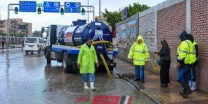 استمرار أعمال تصريف مياه الأمطار من شوارع الإسكندرية