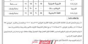 جدول امتحانات الترم الأول جميع المراحل محافظة الغربية 2019-2020