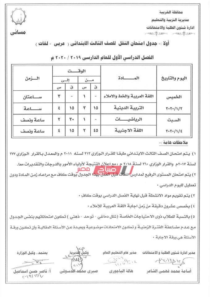 جداول امتحانات المرحلة الإبتدائية محافظة الغربية الترم الأول 2019