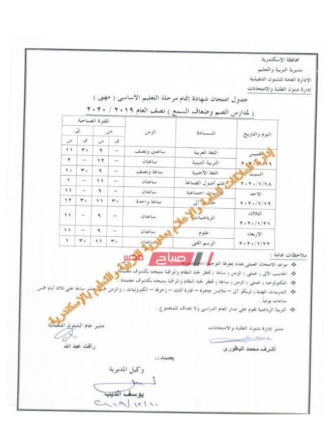 جدول الصف الثالث الاعدادي-صم وبكم مهني-الاسكندرية