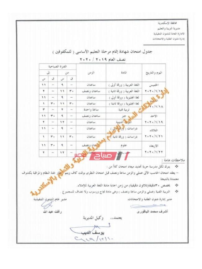 جدول الصف الثالث الاعدادي للمكفوفين-الاسكندرية