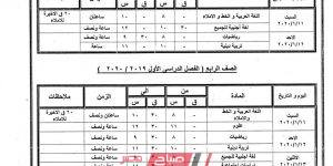 جدول امتحانات الترم الأول جميع المراحل محافظة كفر الشيخ 2019-2020