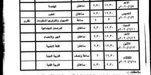جدول امتحانات الترم الاول جميع المراحل محافظة الأقصر 2019-2020