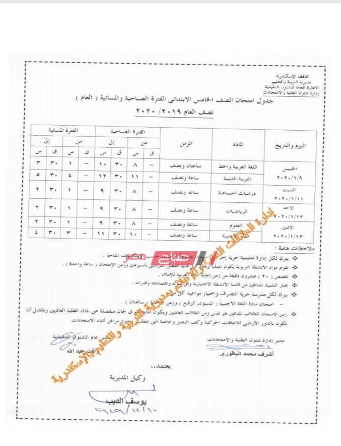 جدول الصف الخامس الابتدائي-الاسكندرية