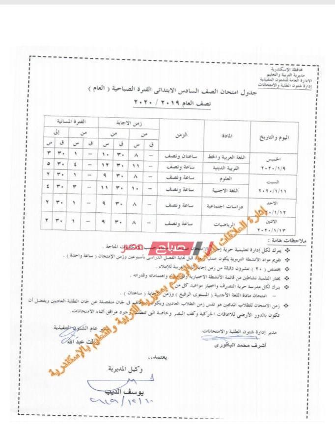 جدول الصف السادس الابتدائي-الاسكندرية