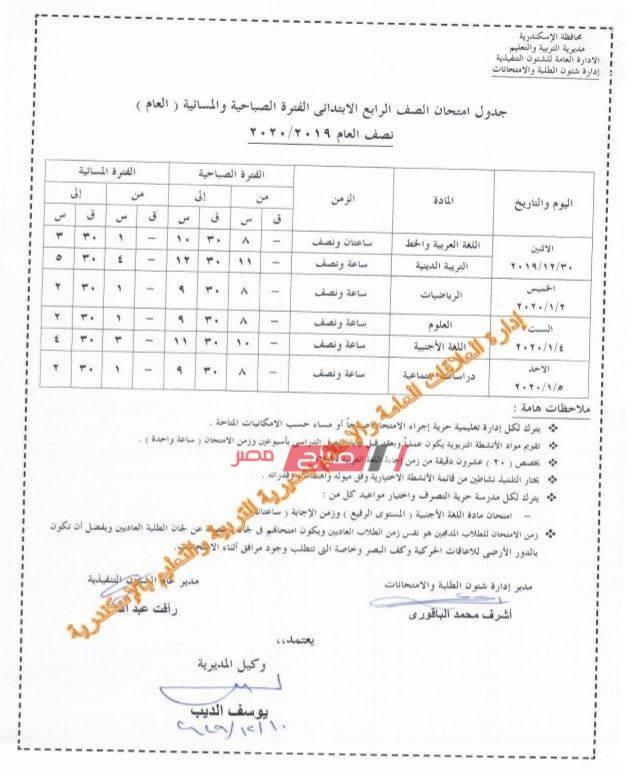 جدول امتحان الصف الرابع الابتدائي-الاسكندرية