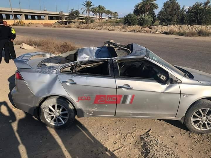 حادث انقلاب سيارة على طريق دمياط الجديدة
