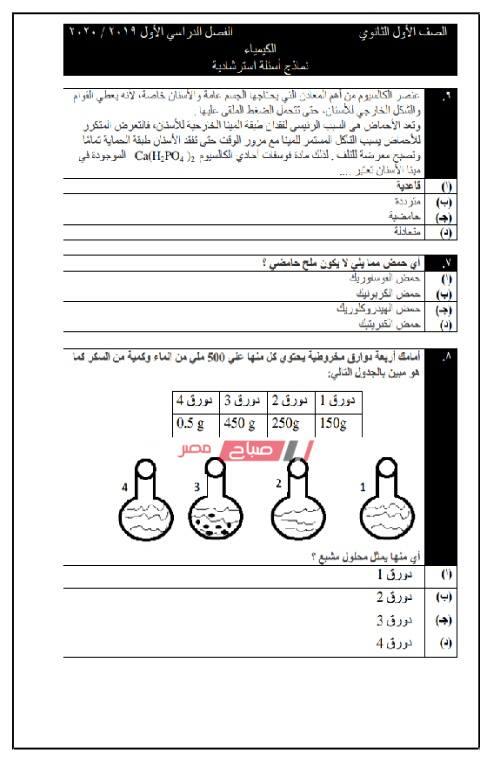 نموذج الكيمياء الاسترشادي للصف الأول الثانوي 2019 - 2020