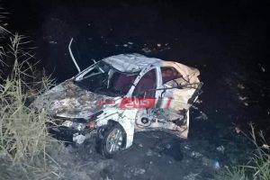 ننشر صور انقلاب سيارة ملاكي في ترعة بدمياط ومصرع وإصابة شخصان