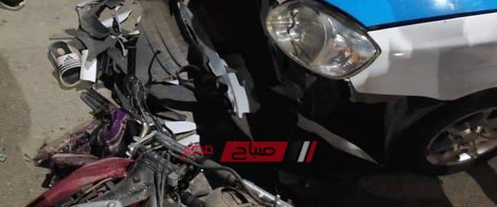 بالصورة إصابة شخصان جراء حادث تصادم دراجة بخارية في دمياط