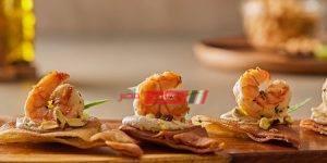 روبيان بالحمص والخبز المحمص
