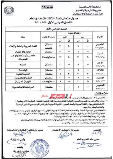 جدول امتحانات الشهادة الإعدادية (3 إعدادي) جميع المحافظات نصف العام 2020 - موقع صباح مصر