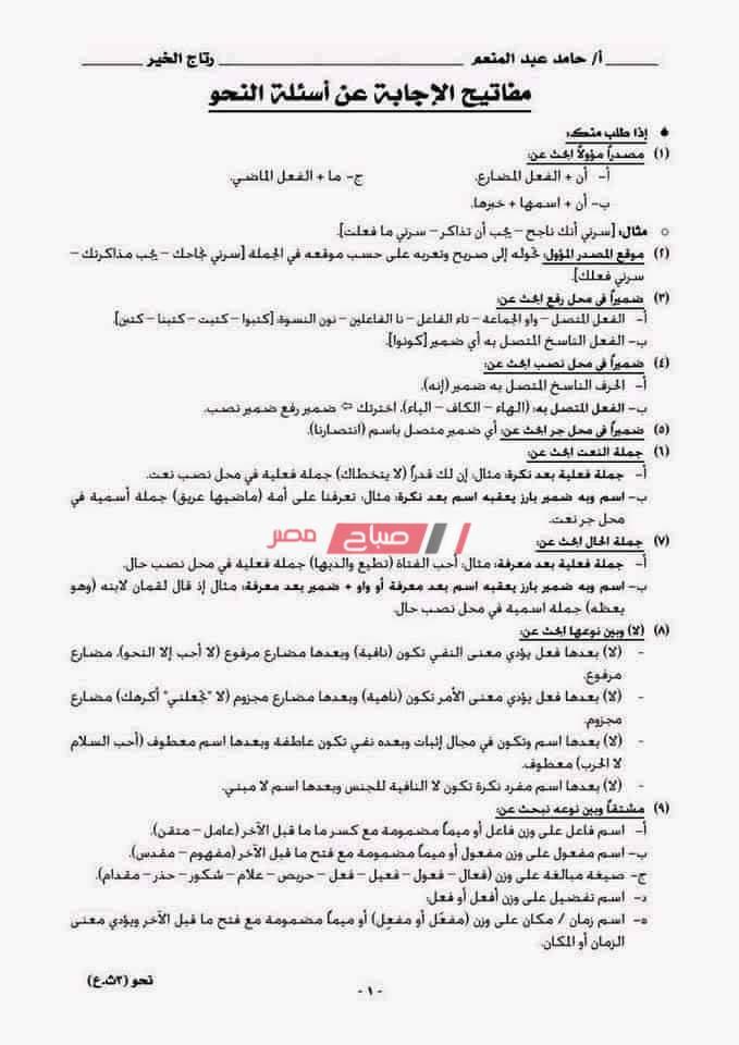 ملخص النحو كامل للصف الثالث الثانوي 2020 في أربع ورقات فقط - موقع صباح مصر