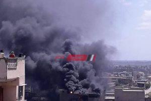 نشوب حريق هائل فى مصنع الملح والصودا في الإسكندرية – صور