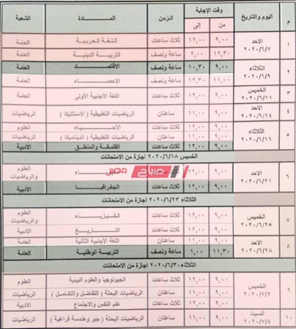 اتحاد طلاب مدارس مصر يستقر على الشكل النهائي لجدول امتحانات الثانوية العامة 2020 - موقع صباح مصر