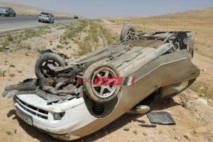 إصابة 7 أشخاص فى تصادم سيارتين بالطريق الزراعى في قليوب
