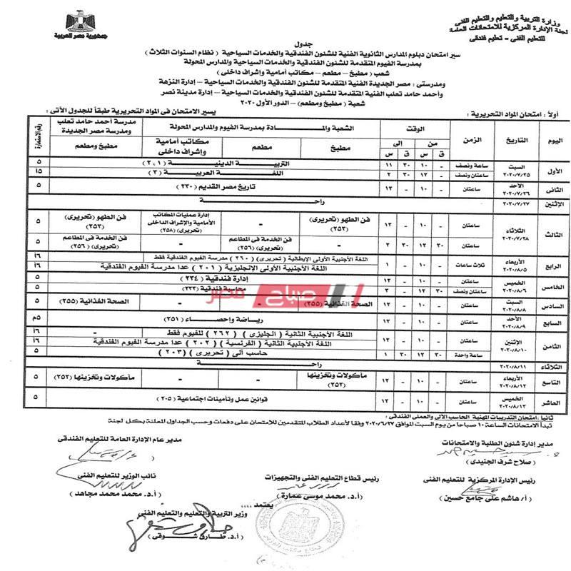 جداول امتحانات الدبلومات الفنية العام الدراسى 2020 جميع التخصصات والأقسام - موقع صباح مصر