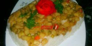 طريقة عمل الأرز الأبيض بالخضار
