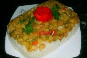 طريقة عمل الأرز الأبيض بالخضار في خطوتين للمبتدئين