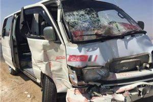 إصابة 6 أشخاص في حادث انقلاب ميكروباص على طريق بني سويف