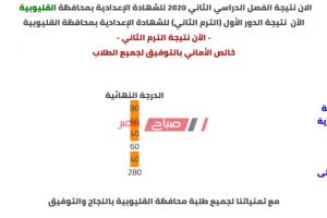 الآن نتيجة الشهادة الاعدادية محافظة القليوبية الترم الثاني 2020