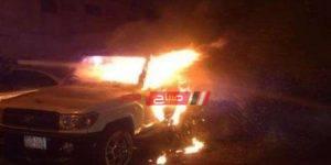 اندلاع حريق في سياره
