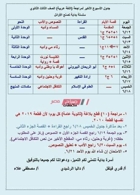 جدول مذاكرة الأسبوع الأخير للثانوية العامة وكيفية تقسيم فروع العربي على 5 أيام فقط صباح مصر