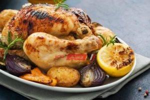 طريقة عمل الدجاج المشوي بالخضار أسرع وجبة للرجيم