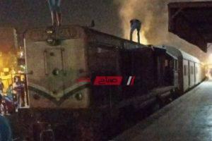 بالصورة إخماد حريق نشب في قطار دمياط شربين دون خسائر بشرية