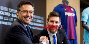 ميسي ورئيس برشلونة