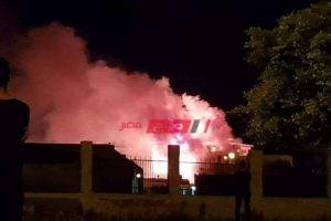 بالصور والفيديو السيطرة على حريق نشب في مصنع اثاث بدمياط