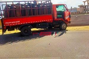 بالصور العناية الإلهية تنقذ سائق سيارة محملة بأسطوانات الغاز من الموت جراء حادث على طريق راس البر
